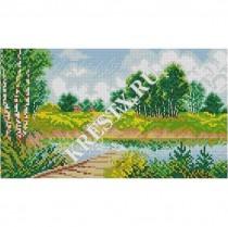 Скачать бесплатную схему вышивки крестом «Сельский пейзаж»