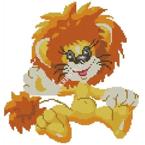 Игрушка вязанная крючком львенок
