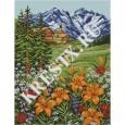 Скачать бесплатную схему вышивки крестом «Лилии в горах»