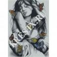 Скачать бесплатную схему вышивки крестом «Девушка с бабочками # 2»