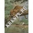 Скачать бесплатную схему вышивки крестом «Леопард на дереве»