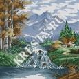 Скачать бесплатную схему вышивки крестом «Пейзаж с водопадом»