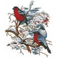 Скачать бесплатную схему вышивки крестом «Снегири»