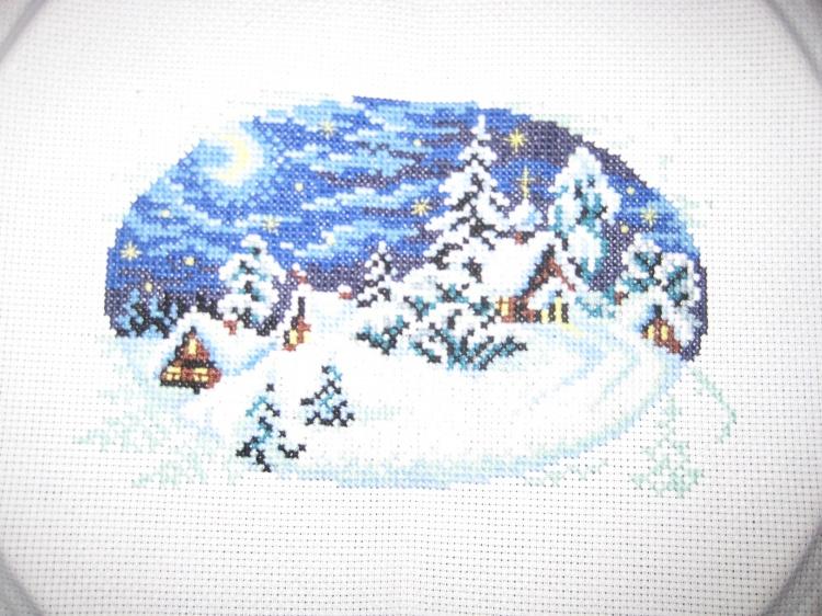 Зима в деревне вышивка крестом схема 209
