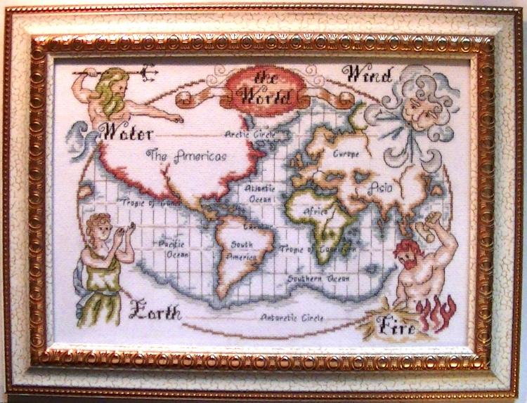"""Вышитая работа """"Карта мира""""."""