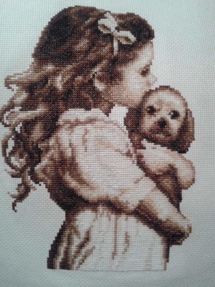 Вышивка крестом схема девочка с собачкой