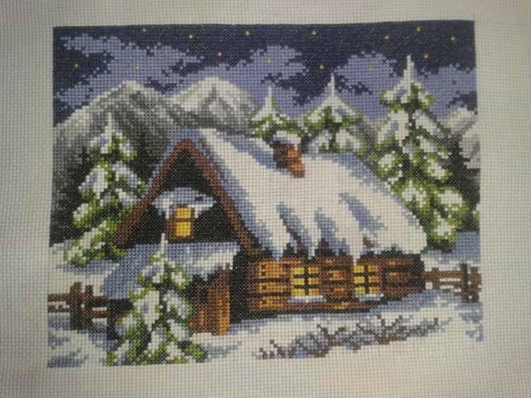 Зима в деревне вышивка крестом схема 373